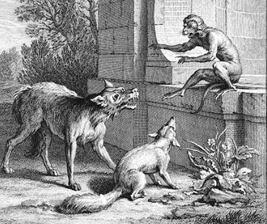 Farkas a róka a majom törvényszéke előtt